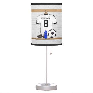 Personalized White Black Football Soccer Jersey Desk Lamp
