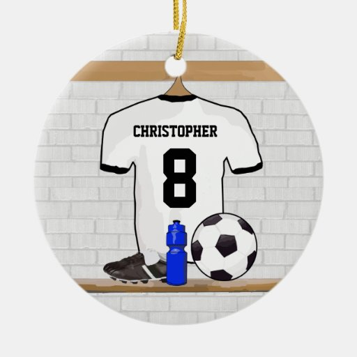 Personalized White Black Football Soccer Jersey Double-sided Ceramic Round Christmas Ornament