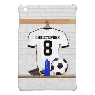 Personalized White Black Football Soccer Jersey iPad Mini Cover a4612e143