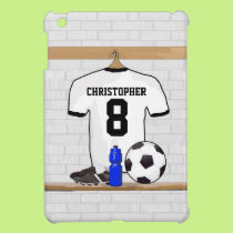 Personalized White Black Football Soccer Jersey iPad Mini Covers
