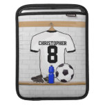 Personalized White | Black Football Soccer Jersey iPad Sleeve