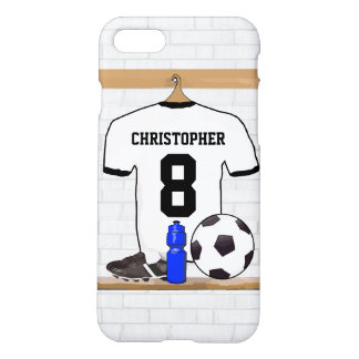 Personalized White Black Football Soccer Jersey iPhone 7 Case