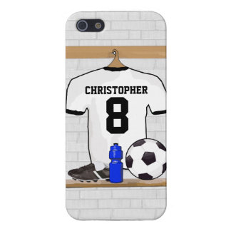 Personalized White Black Football Soccer Jersey Case For iPhone 5
