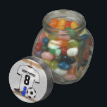 "Personalized White Black Football Soccer Jersey Jelly Belly Candy Jar<br><div class=""desc"">Personalised white and black football soccer jersey shirt, hanging in a sports locker room with a water bottle, football cleats and a soccer ball. Just add the name and number (or age) of the soccer player, football fan or soccer team coach to create a unique soccer gift. Other soccer team...</div>"