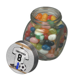 Personalized White Black Football Soccer Jersey Jelly Belly Candy Jars