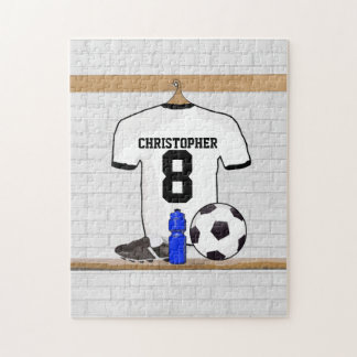 Personalized White Black Football Soccer Jersey Jigsaw Puzzle