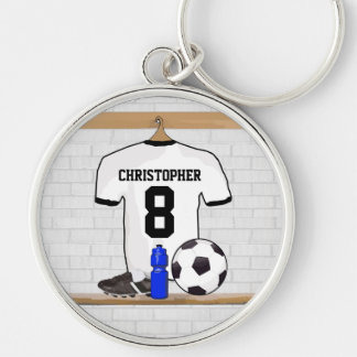 Personalized White | Black Football Soccer Jersey Key Chains