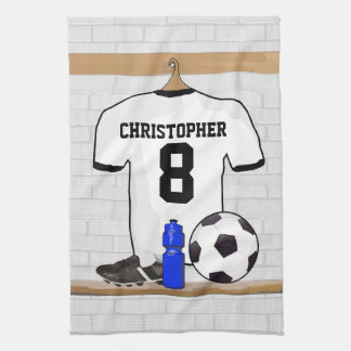 Personalized White Black Football Soccer Jersey Kitchen Towel