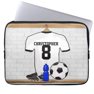 Personalized White Black Football Soccer Jersey Laptop Sleeve