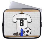 Personalized White | Black Football Soccer Jersey Laptop Sleeves