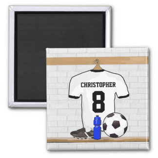Personalized White Black Football Soccer Jersey Magnet