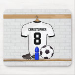 Personalized White Black Football Soccer Jersey Mouse Pad