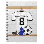 Personalized White Black Football Soccer Jersey Notebooks