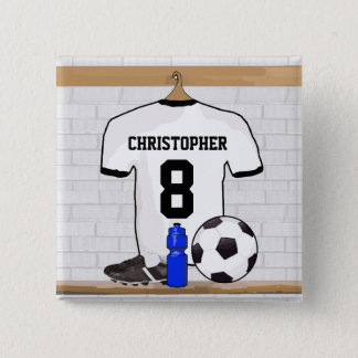 Personalized White Black Football Soccer Jersey Pinback Button