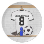 Personalized White Black Football Soccer Jersey Party Plates