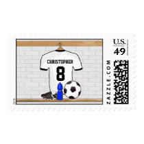 Personalized White Black Football Soccer Jersey Postage