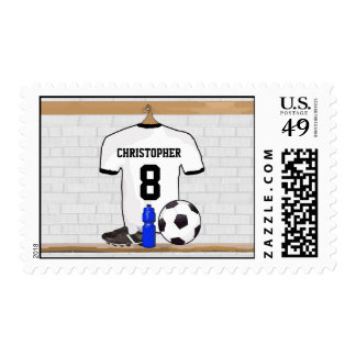 Personalized White Black Football Soccer Jersey Postage Stamp