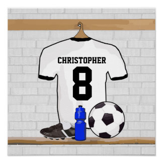 Personalized White Black Football Soccer Jersey Poster