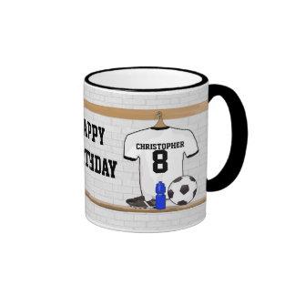 Personalized White Black Football Soccer Jersey Ringer Mug