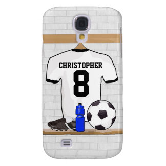 Personalized White Black Football Soccer Jersey Samsung Galaxy S4 Cover