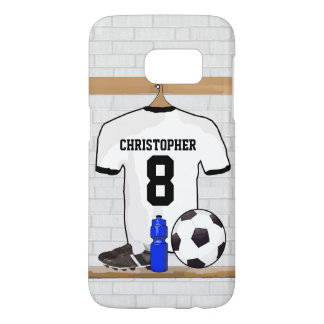 Personalized White Black Football Soccer Jersey Samsung Galaxy S7 Case