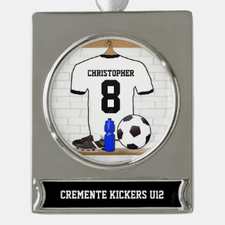 Personalized White Black Football Soccer Jersey Silver Plated Banner Ornament