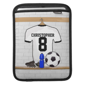 Personalized White Black Football Soccer Jersey Sleeve For iPads
