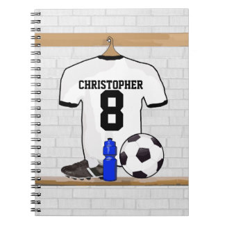 Personalized White Black Football Soccer Jersey Spiral Notebook