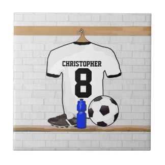 Personalized White Black Football Soccer Jersey Tile