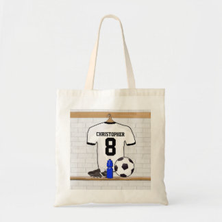 Personalized White Black Football Soccer Jersey Tote Bag