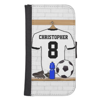 Personalized White Black Football Soccer Jersey Wallet Phone Case For Samsung Galaxy S4