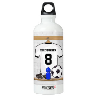 Personalized White Black Football Soccer Jersey Water Bottle