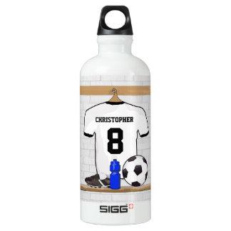 Personalized White Black Football Soccer Jersey Water Bottle