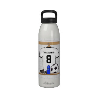 Personalized White Black Football Soccer Jersey Reusable Water Bottles