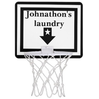 Personalized White & Black Laundry Basketball Hoop