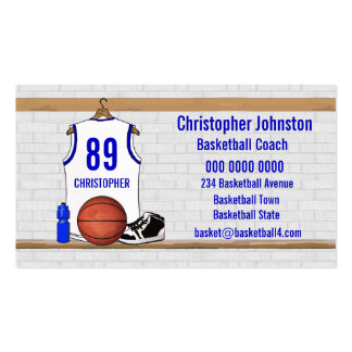 Personalized white Blue Basketball Jersey Business Cards