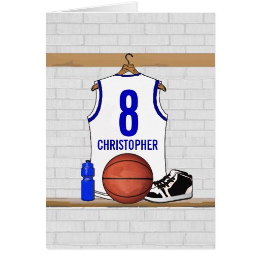 Personalized white Blue Basketball Jersey Cards