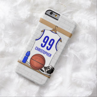Personalized white Blue Basketball Jersey Barely There iPhone 6 Case