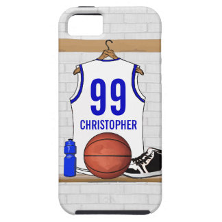 Personalized white Blue Basketball Jersey iPhone 5 Cases