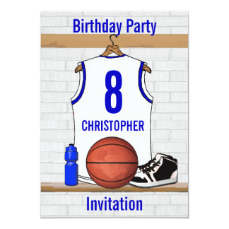 Personalized white Blue Basketball Jersey Custom Announcement