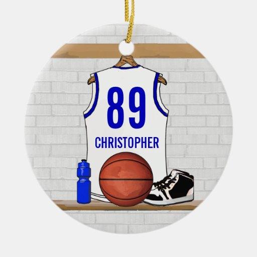 Personalized white Blue Basketball Jersey Christmas Tree Ornament