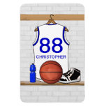 Personalized white Blue Basketball Jersey Flexible Magnet
