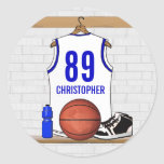 Personalized white Blue Basketball Jersey Round Sticker