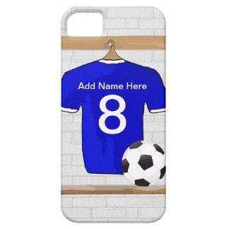 Personalized White Blue Football Soccer Jersey iPhone 5 Case