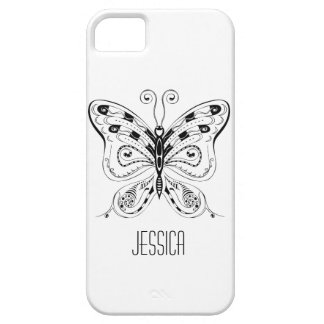 Personalized White case, Black butterfly. iPhone 5 iPhone SE/5/5s Case