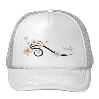 Personalized White Cherry Blossom  Trucker Hats