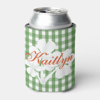 Personalized White Clovers Green Gingham Can Cooler