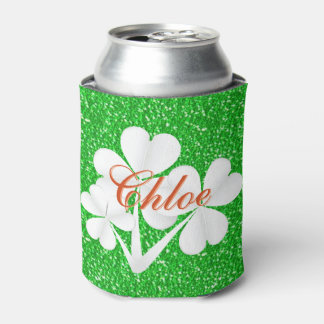 Personalized White Clovers Green Glitter Can Cooler