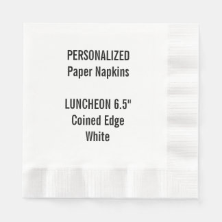 Personalized White Coined LUNCHEON Paper Napkin
