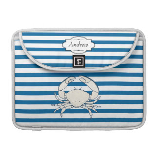 Personalized White Crab Blue and White Stripe Sleeve For MacBook Pro